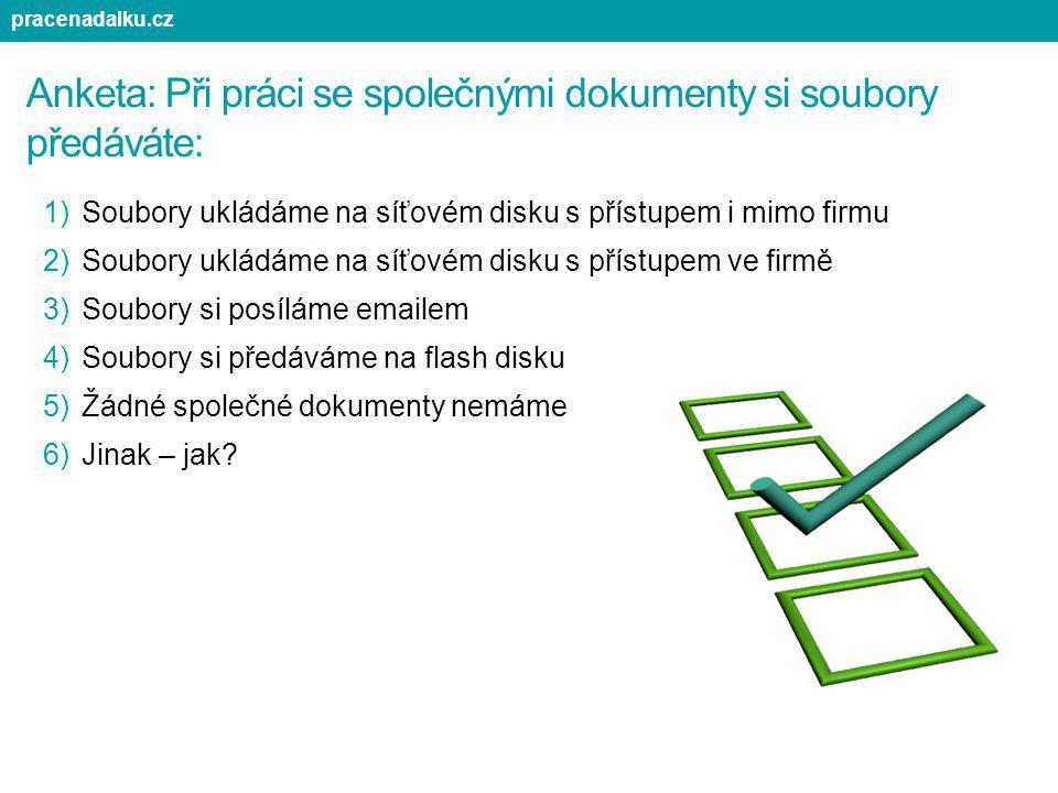 Anketa: Při práci se společnými dokumenty si soubory předáváte: 1)Soubory ukládáme na síťovém disku s přístupem i mimo firmu 2)Soubory ukládáme na síť