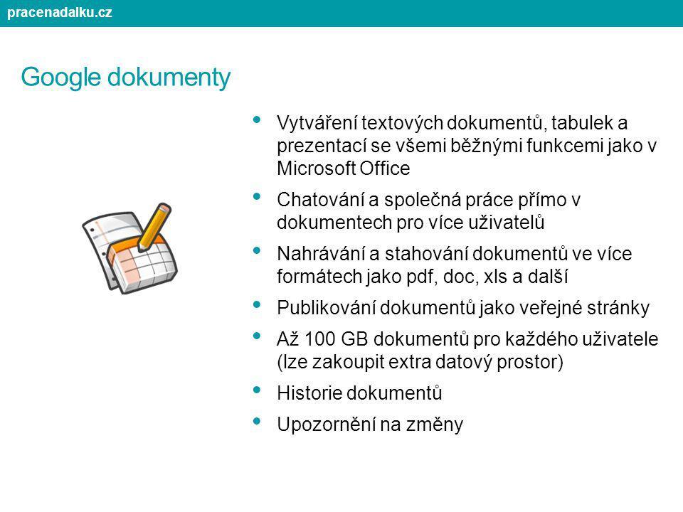 Google dokumenty Vytváření textových dokumentů, tabulek a prezentací se všemi běžnými funkcemi jako v Microsoft Office Chatování a společná práce přím