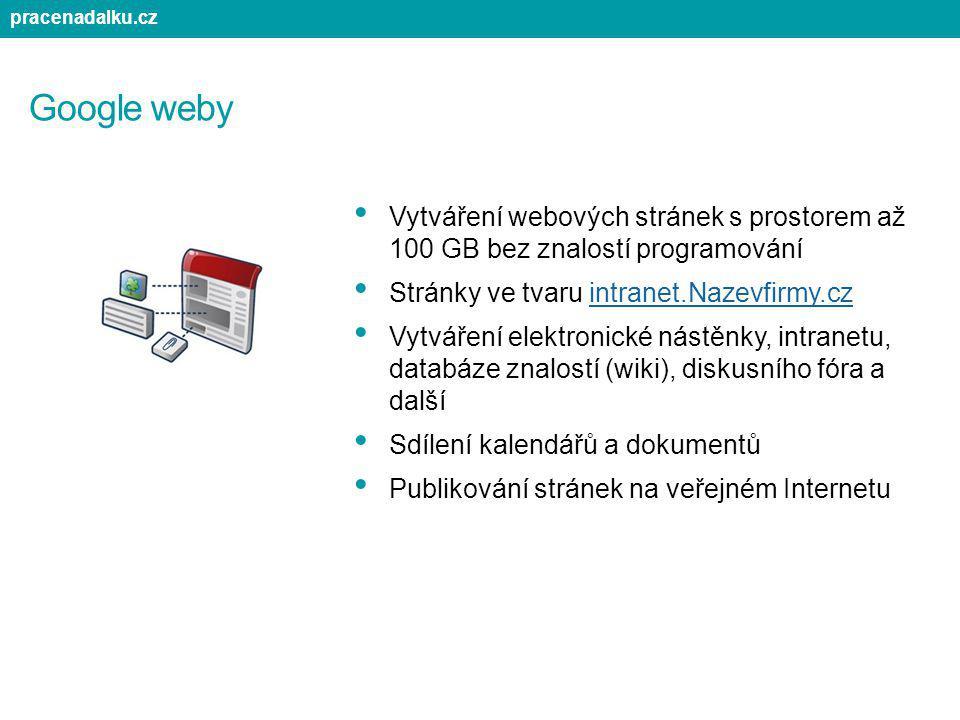 Google weby Vytváření webových stránek s prostorem až 100 GB bez znalostí programování Stránky ve tvaru intranet.Nazevfirmy.cz Vytváření elektronické