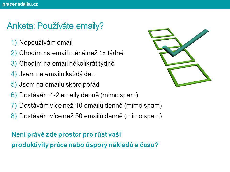 Anketa: Používáte emaily? 1)Nepoužívám email 2)Chodím na email méně než 1x týdně 3)Chodím na email několikrát týdně 4)Jsem na emailu každý den 5)Jsem