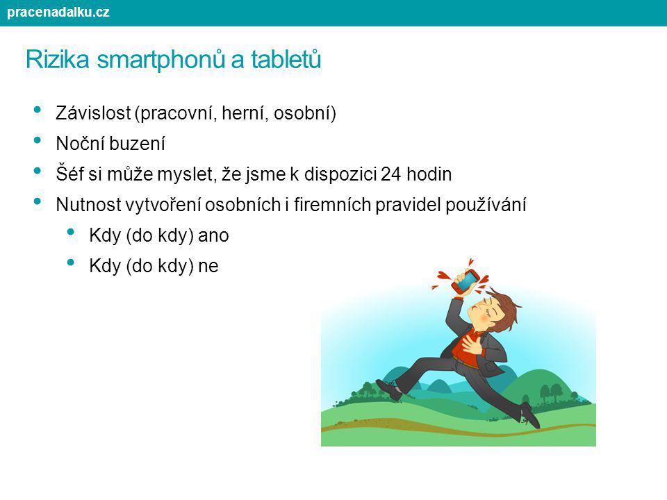 Rizika smartphonů a tabletů Závislost (pracovní, herní, osobní) Noční buzení Šéf si může myslet, že jsme k dispozici 24 hodin Nutnost vytvoření osobní
