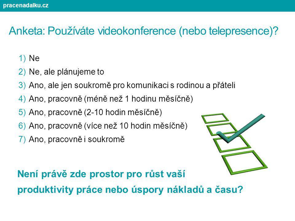 Anketa: Používáte videokonference (nebo telepresence)? 1)Ne 2)Ne, ale plánujeme to 3)Ano, ale jen soukromě pro komunikaci s rodinou a přáteli 4)Ano, p