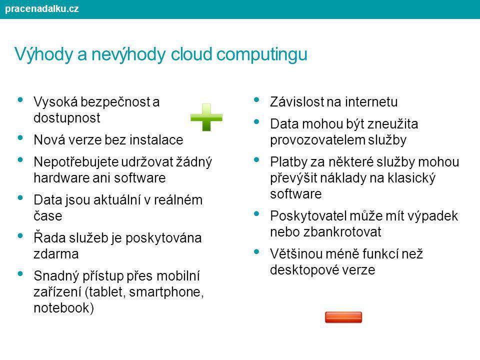 Výhody a nevýhody cloud computingu Vysoká bezpečnost a dostupnost Nová verze bez instalace Nepotřebujete udržovat žádný hardware ani software Data jso