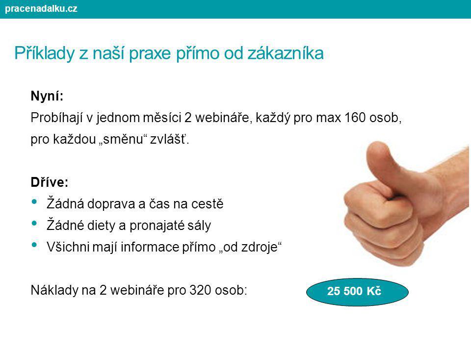 """Příklady z naší praxe přímo od zákazníka Nyní: Probíhají v jednom měsíci 2 webináře, každý pro max 160 osob, pro každou """"směnu"""" zvlášť. Dříve: Žádná d"""