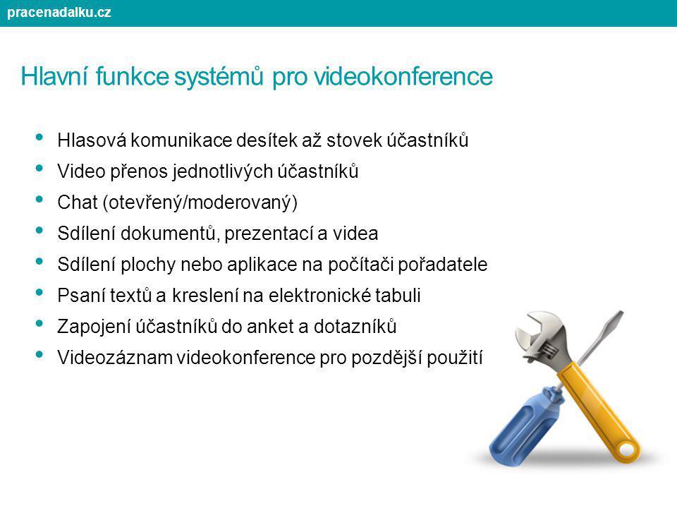 Hlavní funkce systémů pro videokonference Hlasová komunikace desítek až stovek účastníků Video přenos jednotlivých účastníků Chat (otevřený/moderovaný