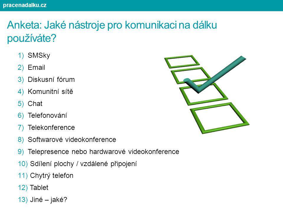 Anketa: Jaké nástroje pro komunikaci na dálku používáte? 1)SMSky 2)Email 3)Diskusní fórum 4)Komunitní sítě 5)Chat 6)Telefonování 7)Telekonference 8)So