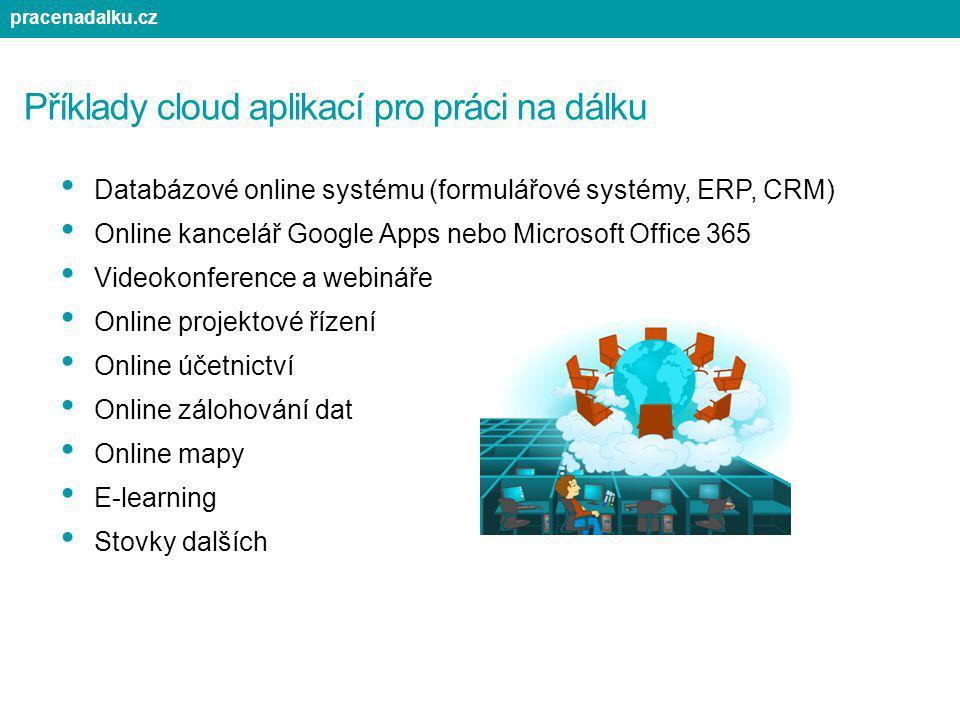 Příklady cloud aplikací pro práci na dálku Databázové online systému (formulářové systémy, ERP, CRM) Online kancelář Google Apps nebo Microsoft Office