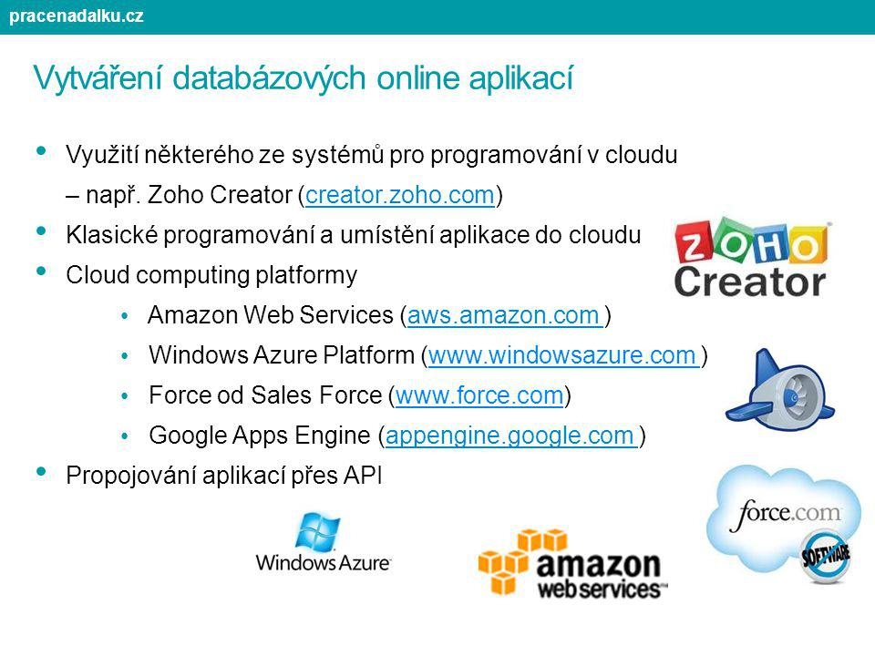 Vytváření databázových online aplikací Využití některého ze systémů pro programování v cloudu – např. Zoho Creator (creator.zoho.com) Klasické program