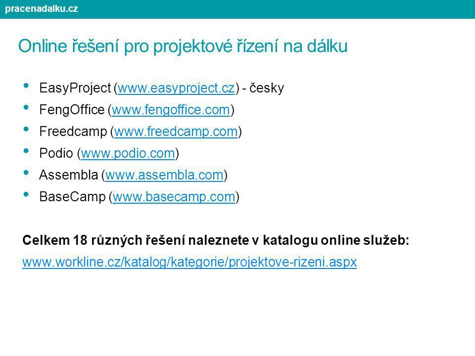 Online řešení pro projektové řízení na dálku EasyProject (www.easyproject.cz) - česky FengOffice (www.fengoffice.com) Freedcamp (www.freedcamp.com) Po