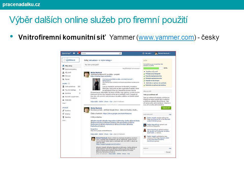 Výběr dalších online služeb pro firemní použití Vnitrofiremní komunitní síť Yammer (www.yammer.com) - českywww.yammer.com pracenadalku.cz