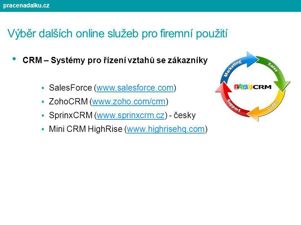 Výběr dalších online služeb pro firemní použití CRM – Systémy pro řízení vztahů se zákazníky SalesForce (www.salesforce.com)www.salesforce.com ZohoCRM