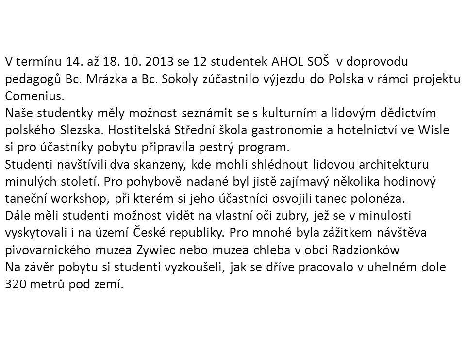 V termínu 14. až 18. 10. 2013 se 12 studentek AHOL SOŠ v doprovodu pedagogů Bc.