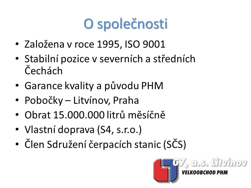 O společnosti Založena v roce 1995, ISO 9001 Stabilní pozice v severních a středních Čechách Garance kvality a původu PHM Pobočky – Litvínov, Praha Obrat 15.000.000 litrů měsíčně Vlastní doprava (S4, s.r.o.) Člen Sdružení čerpacích stanic (SČS)