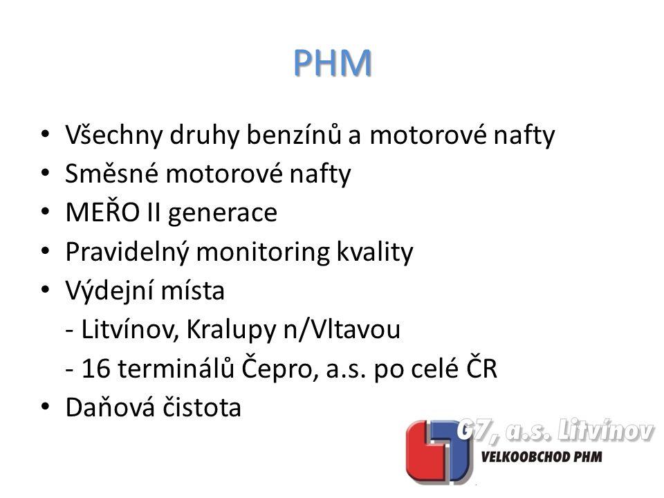 Všechny druhy benzínů a motorové nafty Směsné motorové nafty MEŘO II generace Pravidelný monitoring kvality Výdejní místa - Litvínov, Kralupy n/Vltavou - 16 terminálů Čepro, a.s.