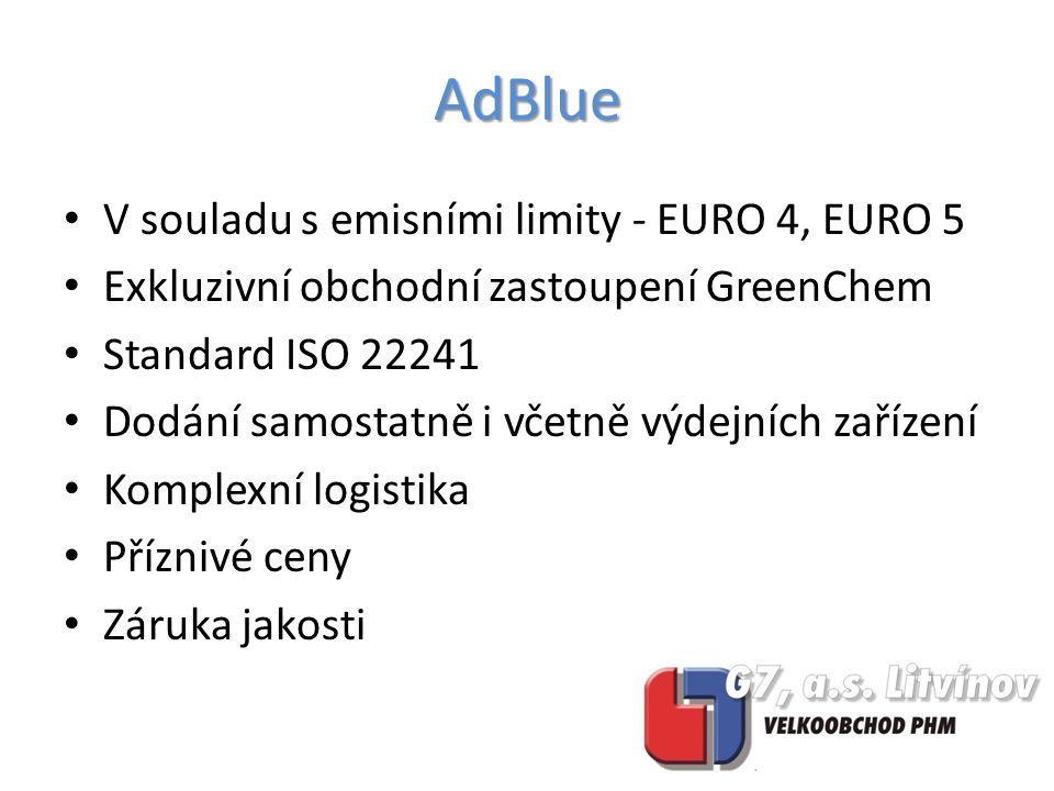 V souladu s emisními limity - EURO 4, EURO 5 Exkluzivní obchodní zastoupení GreenChem Standard ISO 22241 Dodání samostatně i včetně výdejních zařízení Komplexní logistika Příznivé ceny Záruka jakosti AdBlue