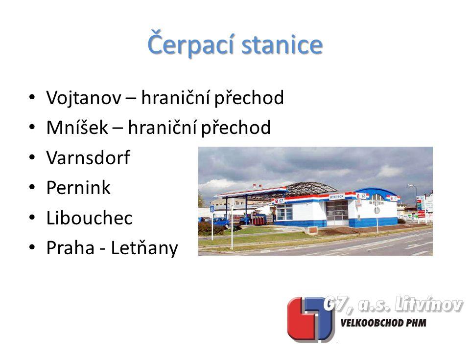 Vojtanov – hraniční přechod Mníšek – hraniční přechod Varnsdorf Pernink Libouchec Praha - Letňany Čerpací stanice