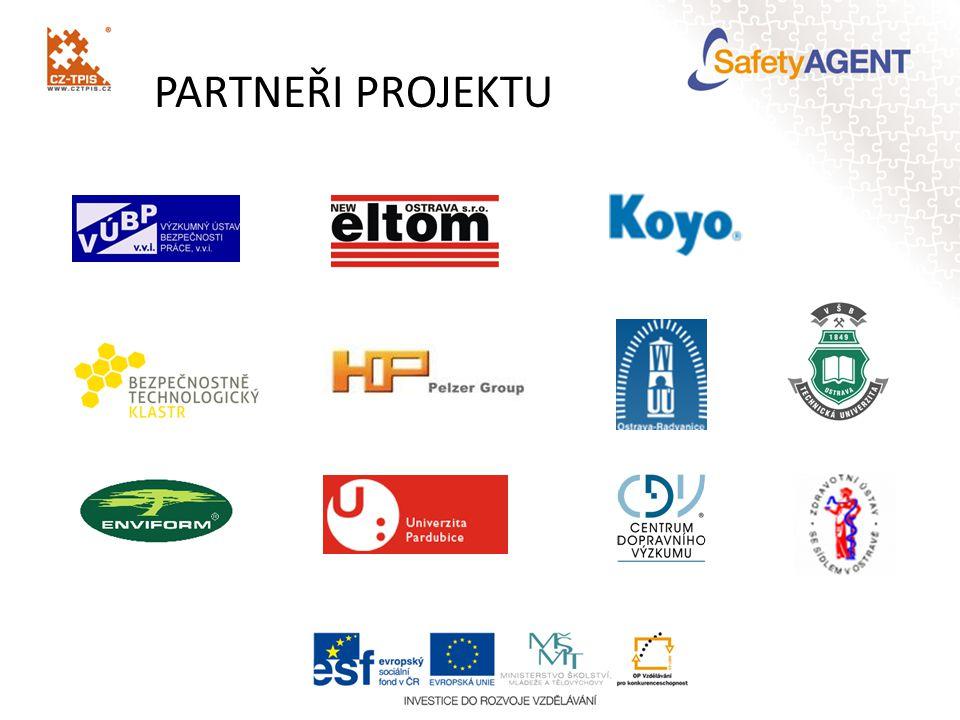 CÍLE PROJEKTU vytváření vazeb v oblasti průmyslové bezpečnosti mezi univerzitami, výzkumem a podnikatelskými subjekty zapojení do stávajících sítí spolupráce a vytváření nových partnerství navazování vztahů a rozvoj spolupráce na mezinárodní úrovni propojení terciární sféry s aplikační sférou rozvoj lidských zdrojů cílové skupiny