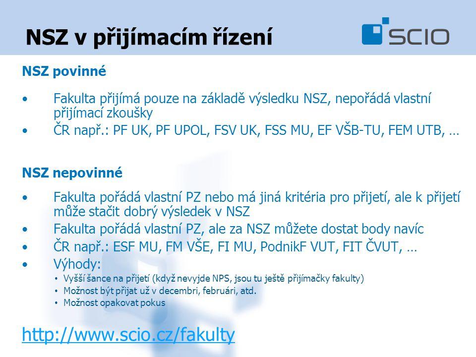NSZ v přijímacím řízení NSZ povinné Fakulta přijímá pouze na základě výsledku NSZ, nepořádá vlastní přijímací zkoušky ČR např.: PF UK, PF UPOL, FSV UK