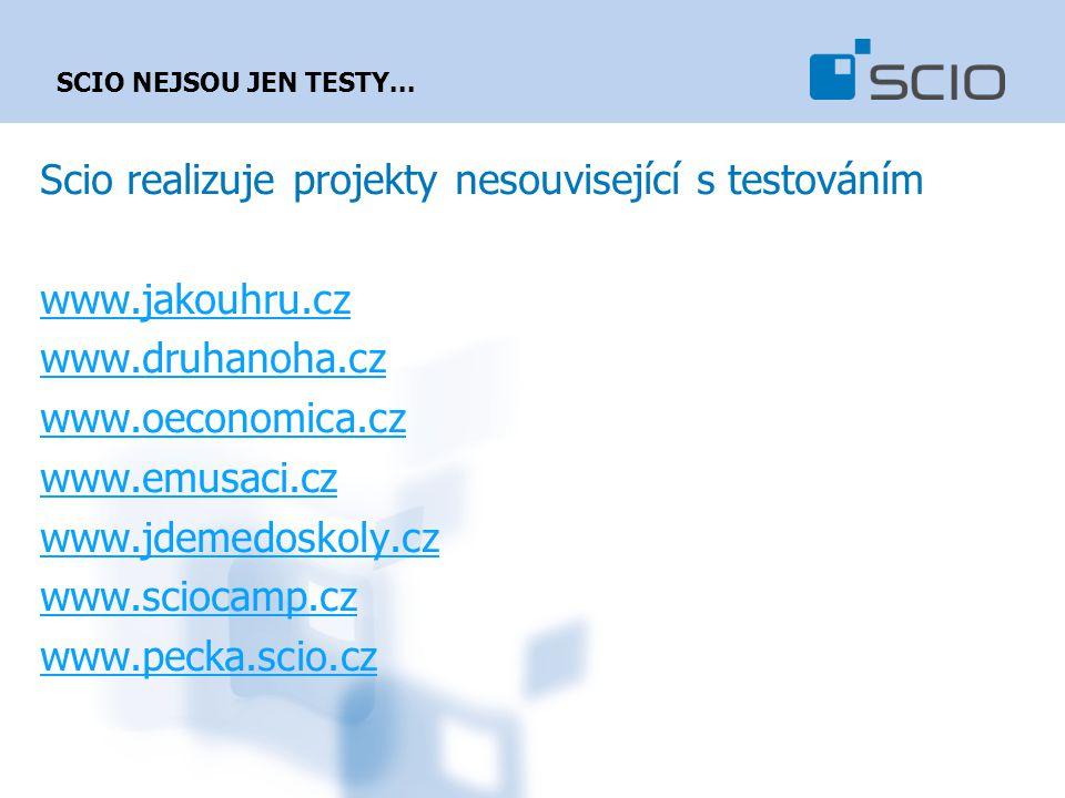 Scio realizuje projekty nesouvisející s testováním www.jakouhru.cz www.druhanoha.cz www.oeconomica.cz www.emusaci.cz www.jdemedoskoly.cz www.sciocamp.