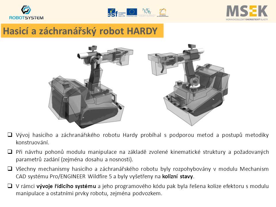  Vývoj hasicího a záchranářského robotu Hardy probíhal s podporou metod a postupů metodiky konstruování.  Při návrhu pohonů modulu manipulace na zák