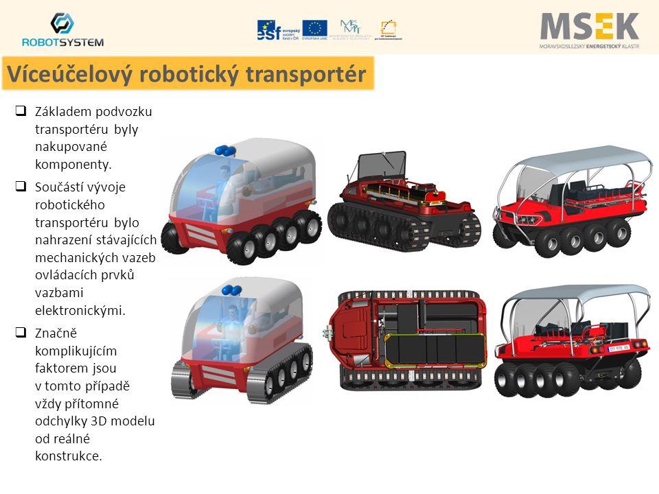  Základem podvozku transportéru byly nakupované komponenty.  Součástí vývoje robotického transportéru bylo nahrazení stávajících mechanických vazeb