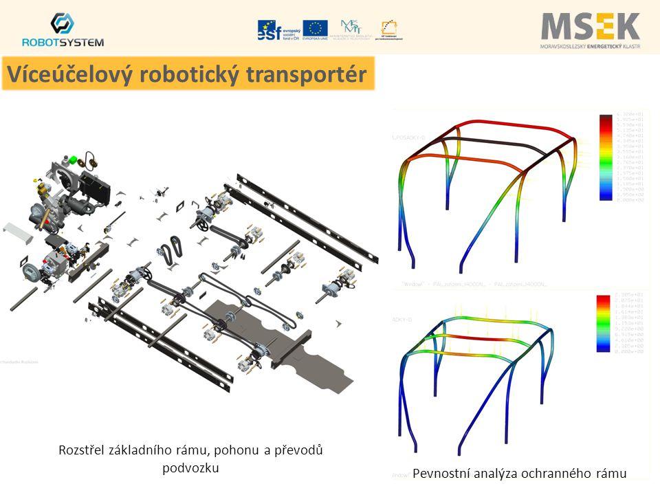 Pevnostní analýza ochranného rámu Rozstřel základního rámu, pohonu a převodů podvozku Víceúčelový robotický transportér