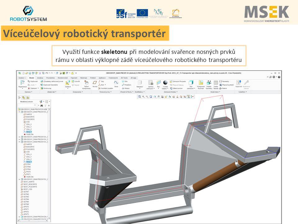 Využití funkce skeletonu při modelování svařence nosných prvků rámu v oblasti výklopné zádě víceúčelového robotického transportéru Víceúčelový robotic