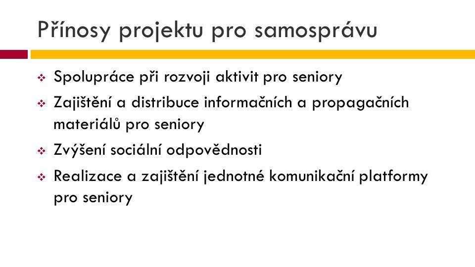 Přínosy projektu pro partnery  Propagace aktivit a produktů pro seniory  Spoluorganizace programu pro seniory  Rozvoj sociální odpovědnosti  Zvýšení atraktivity služeb  Mediální propagace