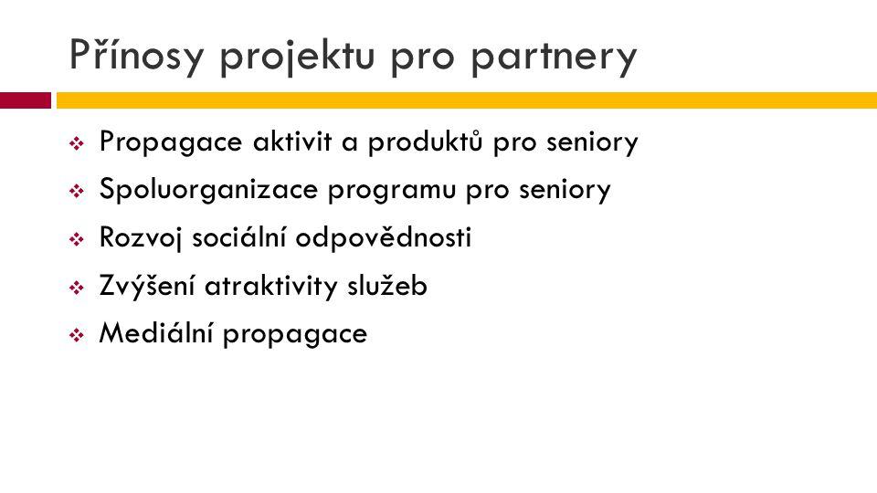 Přínosy projektu pro partnery  Propagace aktivit a produktů pro seniory  Spoluorganizace programu pro seniory  Rozvoj sociální odpovědnosti  Zvýše