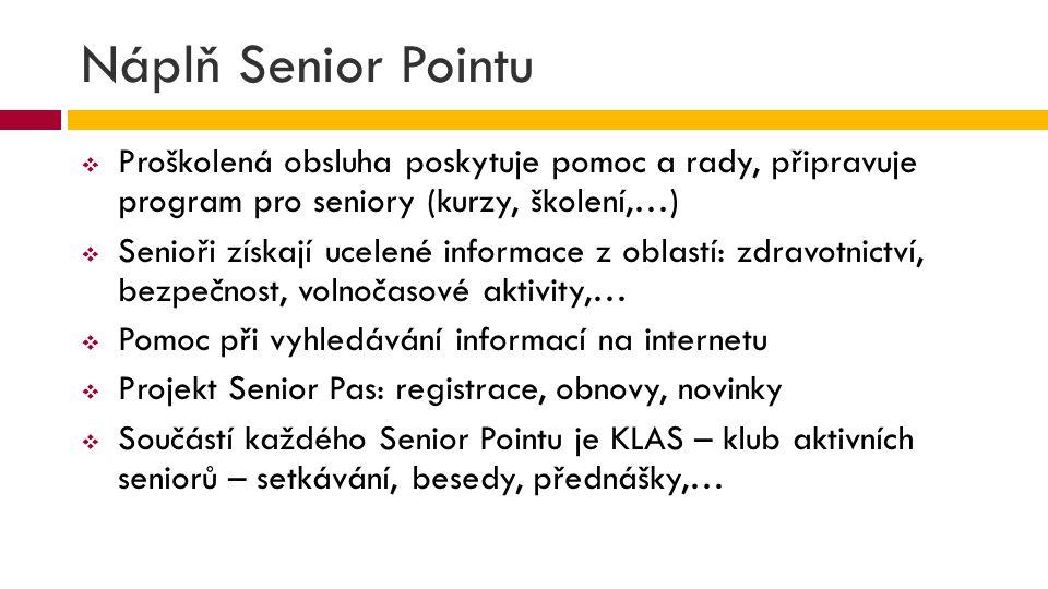 Náplň Senior Pointu  Proškolená obsluha poskytuje pomoc a rady, připravuje program pro seniory (kurzy, školení,…)  Senioři získají ucelené informace