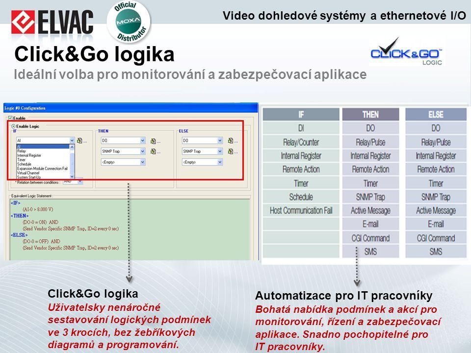 Click&Go logika Ideální volba pro monitorování a zabezpečovací aplikace Click&Go logika Uživatelsky nenáročné sestavování logických podmínek ve 3 kroc