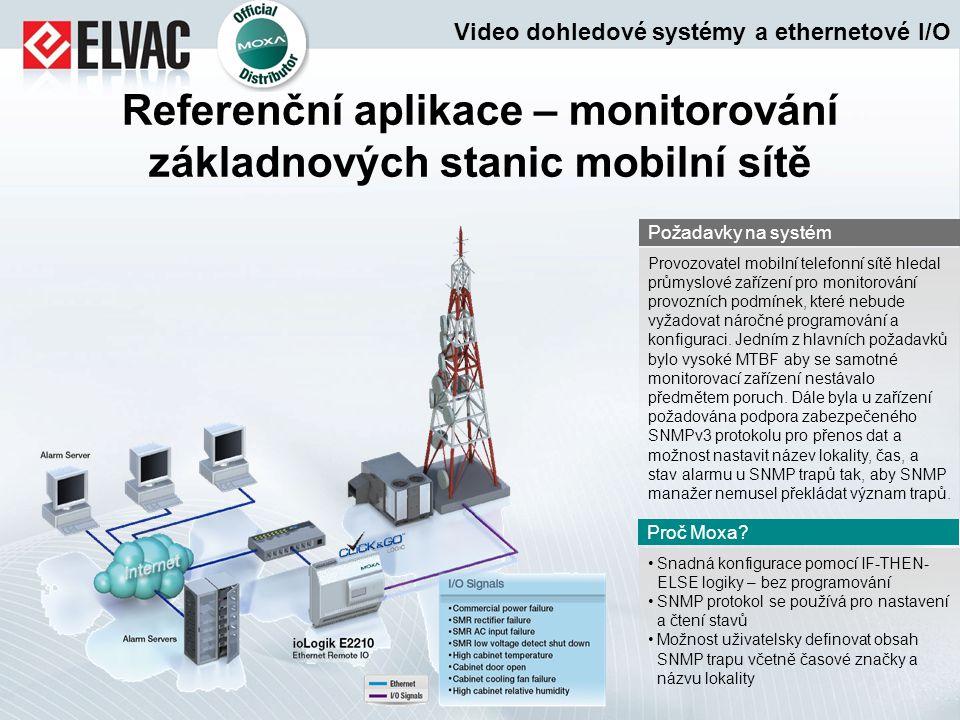 Referenční aplikace – monitorování základnových stanic mobilní sítě Snadná konfigurace pomocí IF-THEN- ELSE logiky – bez programování SNMP protokol se