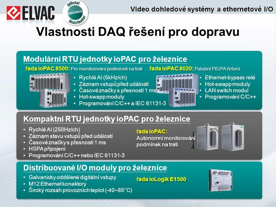Vlastnosti DAQ řešení pro dopravu Modulární RTU jednotky ioPAC pro železnice řada ioPAC 8500: Pro monitorování podmínek na trati Kompaktní RTU jednotk