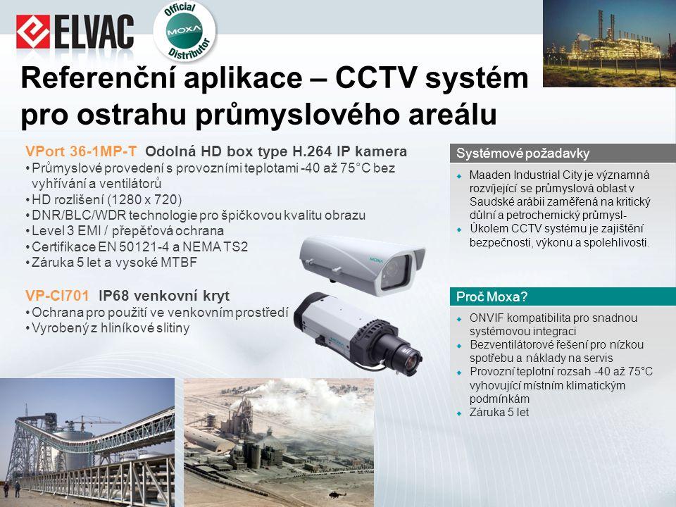 Referenční aplikace – CCTV systém pro ostrahu průmyslového areálu VPort 36-1MP-T Odolná HD box type H.264 IP kamera Průmyslové provedení s provozními