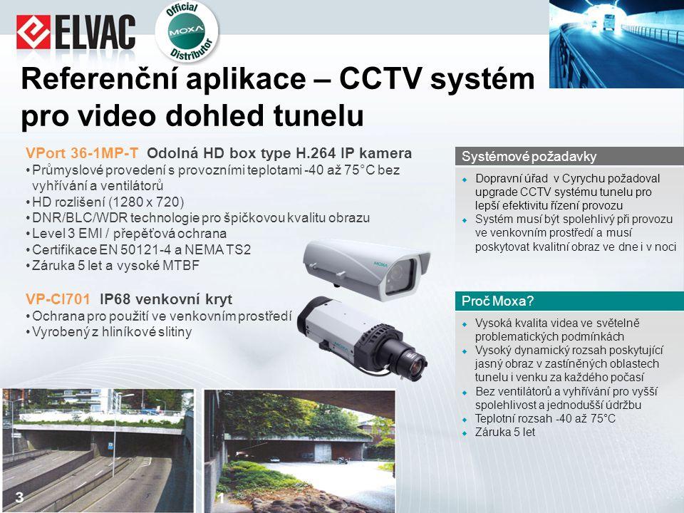 Referenční aplikace – CCTV systém pro video dohled tunelu  Vysoká kvalita videa ve světelně problematických podmínkách  Vysoký dynamický rozsah posk