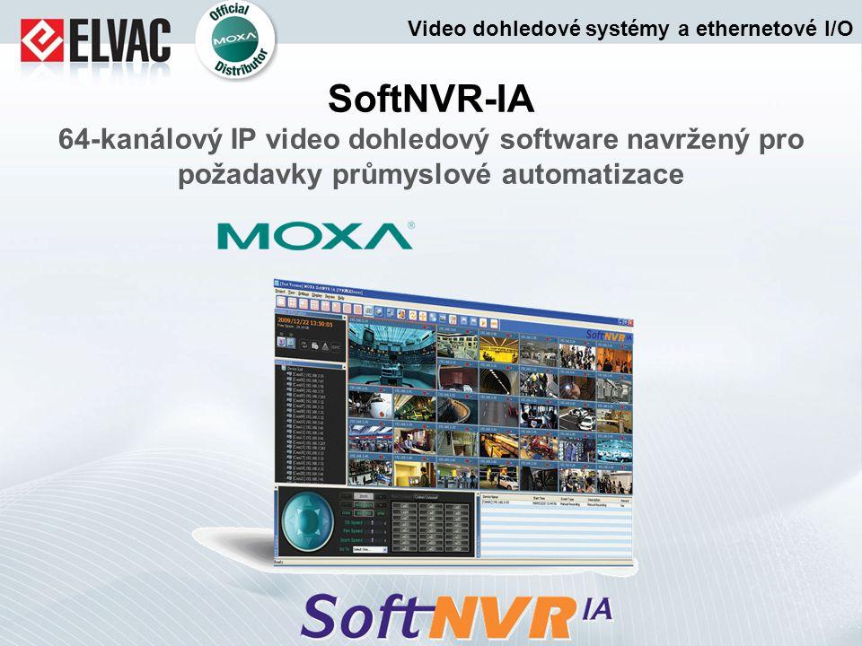 SoftNVR-IA 64-kanálový IP video dohledový software navržený pro požadavky průmyslové automatizace Video dohledové systémy a ethernetové I/O