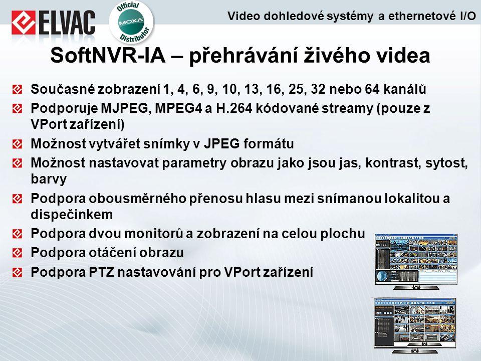 Současné zobrazení 1, 4, 6, 9, 10, 13, 16, 25, 32 nebo 64 kanálů Podporuje MJPEG, MPEG4 a H.264 kódované streamy (pouze z VPort zařízení) Možnost vytv