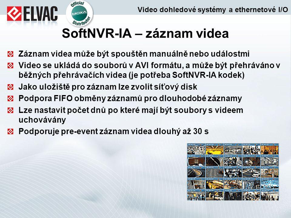 Záznam videa může být spouštěn manuálně nebo událostmi Video se ukládá do souborů v AVI formátu, a může být přehráváno v běžných přehrávačích videa (j