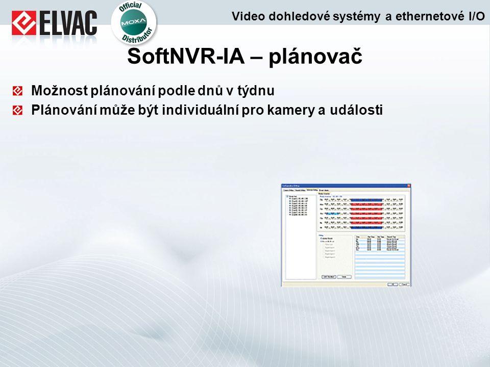 Možnost plánování podle dnů v týdnu Plánování může být individuální pro kamery a události SoftNVR-IA – plánovač Video dohledové systémy a ethernetové