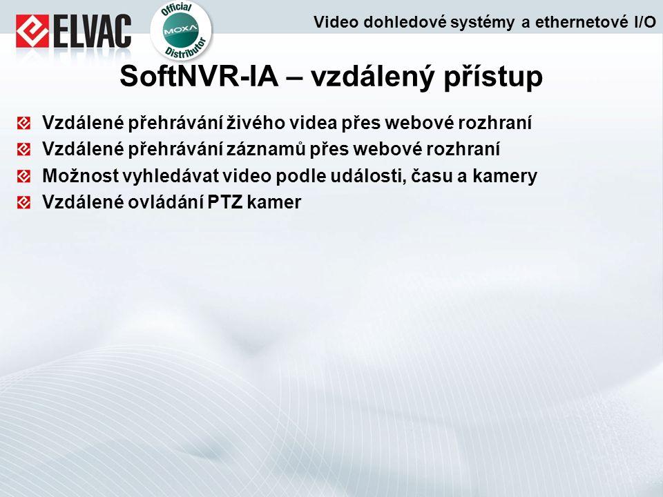 Vzdálené přehrávání živého videa přes webové rozhraní Vzdálené přehrávání záznamů přes webové rozhraní Možnost vyhledávat video podle události, času a