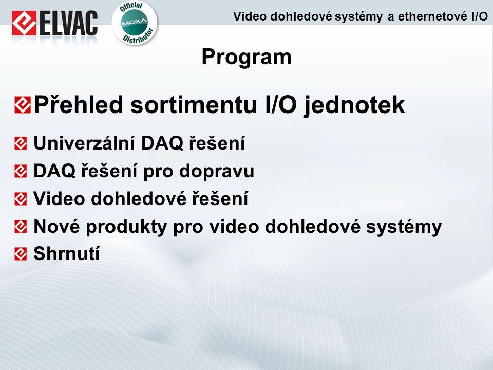 Program Přehled sortimentu I/O jednotek Univerzální DAQ řešení DAQ řešení pro dopravu Video dohledové řešení Nové produkty pro video dohledové systémy Shrnutí Video dohledové systémy a ethernetové I/O