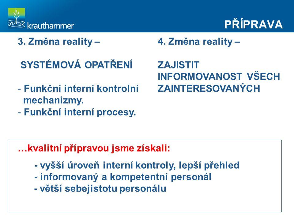 PŘÍPRAVA 3. Změna reality – SYSTÉMOVÁ OPATŘENÍ - Funkční interní kontrolní mechanizmy. - Funkční interní procesy. 4. Změna reality – ZAJISTIT INFORMOV