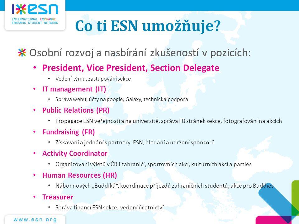 Co ti ESN umožňuje? Osobní rozvoj a nasbírání zkušeností v pozicích: President, Vice President, Section Delegate Vedení týmu, zastupování sekce IT man