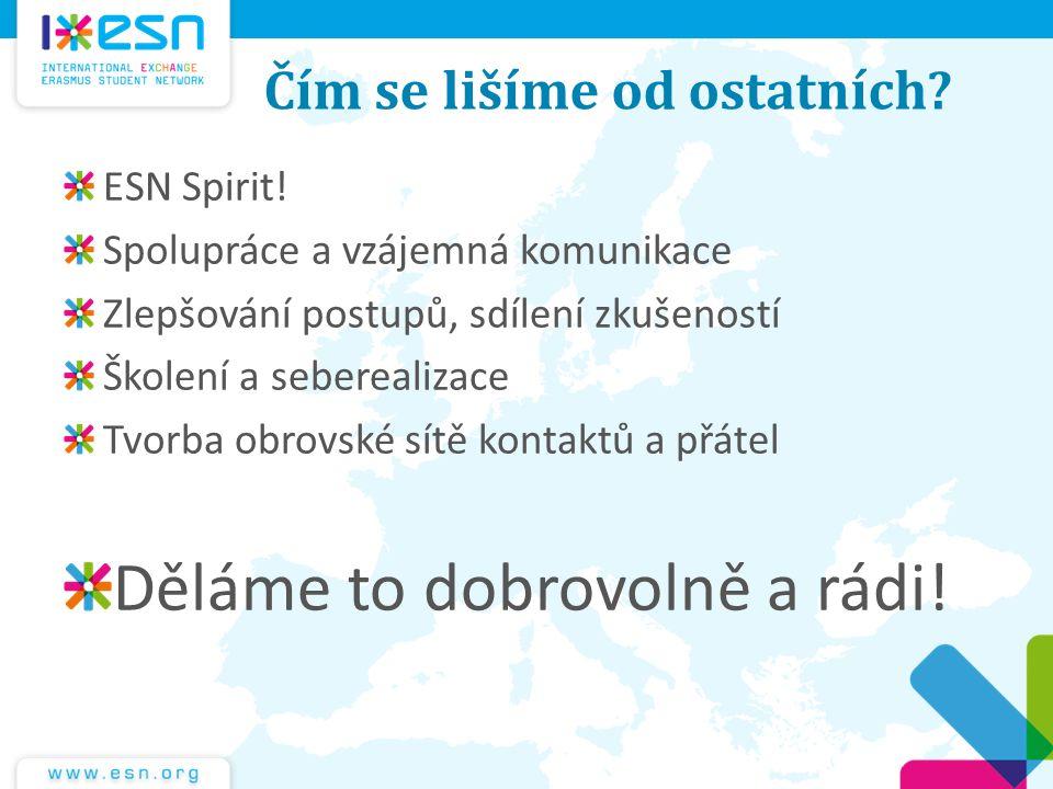 Čím se lišíme od ostatních? ESN Spirit! Spolupráce a vzájemná komunikace Zlepšování postupů, sdílení zkušeností Školení a seberealizace Tvorba obrovsk