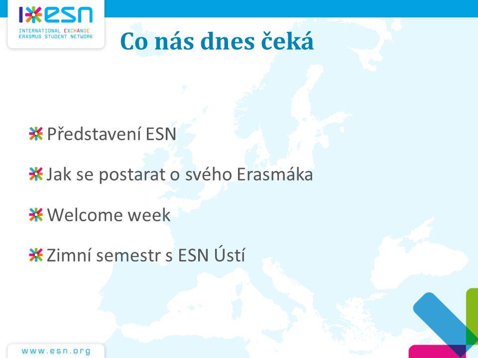 Co nás dnes čeká Představení ESN Jak se postarat o svého Erasmáka Welcome week Zimní semestr s ESN Ústí