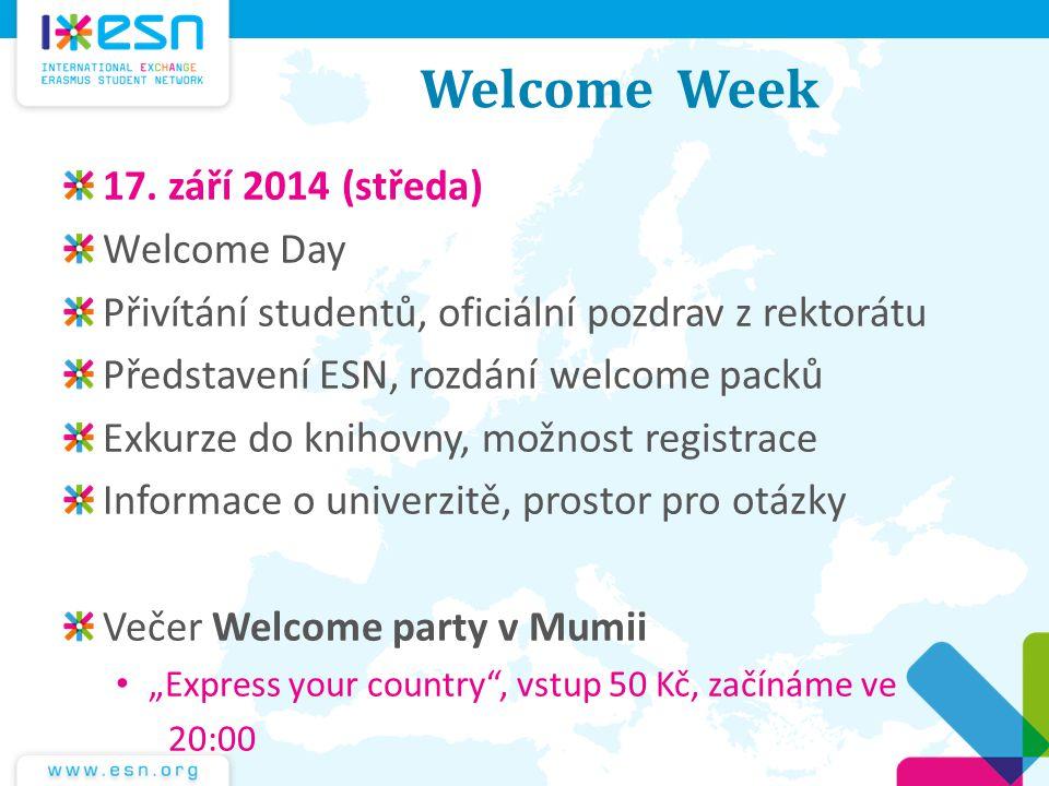 Welcome Week 17. září 2014 (středa) Welcome Day Přivítání studentů, oficiální pozdrav z rektorátu Představení ESN, rozdání welcome packů Exkurze do kn