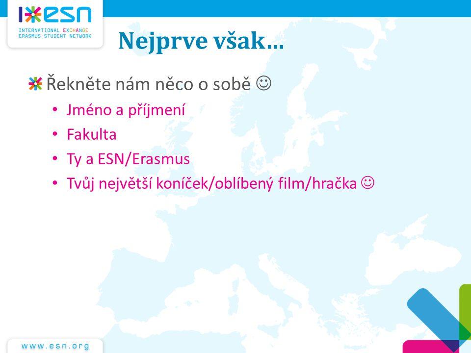Nejprve však… Řekněte nám něco o sobě Jméno a příjmení Fakulta Ty a ESN/Erasmus Tvůj největší koníček/oblíbený film/hračka