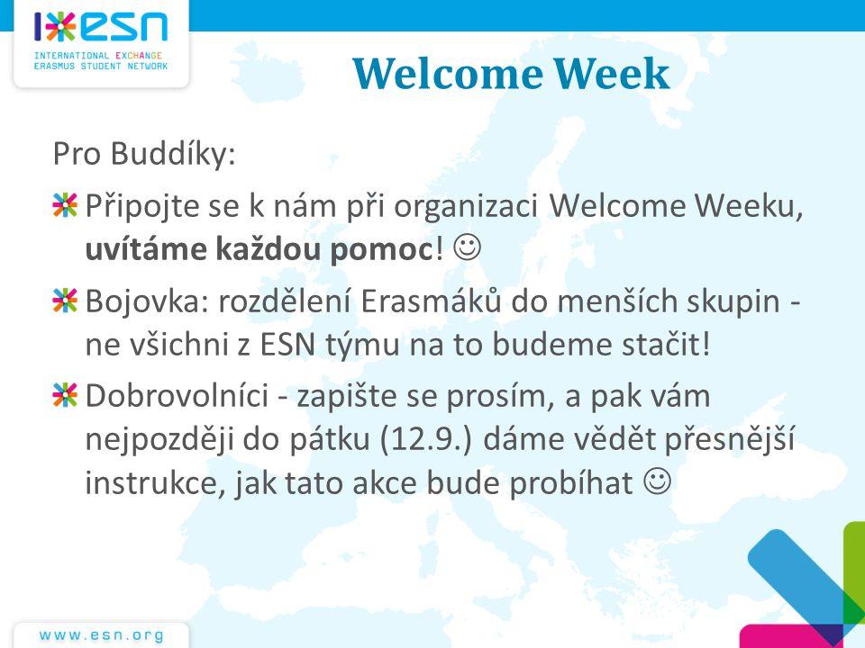 Welcome Week Pro Buddíky: Připojte se k nám při organizaci Welcome Weeku, uvítáme každou pomoc! Bojovka: rozdělení Erasmáků do menších skupin - ne vši