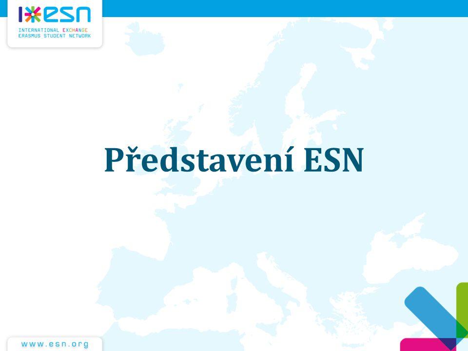 ESN International Největší studentský spolek v Evropě Založen v roce 1989 430 VŠ z 37 zemí 29 000 členů včetně Buddies Staráme se o cca 180 tis.