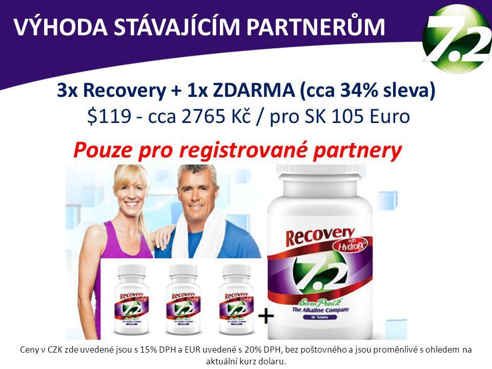 VÝHODA STÁVAJÍCÍM PARTNERŮM 3x Recovery + 1x ZDARMA (cca 34% sleva) $119 - cca 2765 Kč / pro SK 105 Euro Pouze pro registrované partnery Ceny v CZK zd